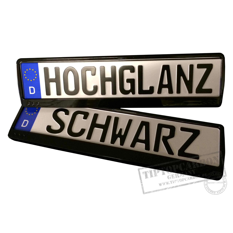 ✓ 2x Hochglanz SCHWARZ Kennzeichenhalter Nummernschildhalter glanz ...