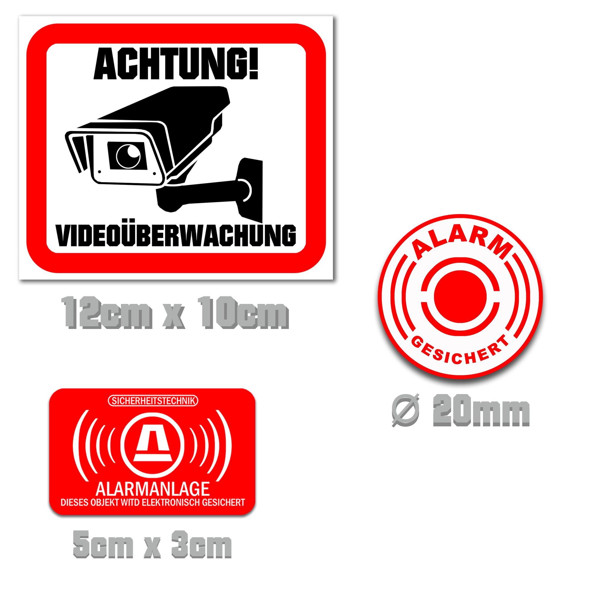 1 50 Stk Aufkleber Videouberwachung Alarm Alarmgesichert