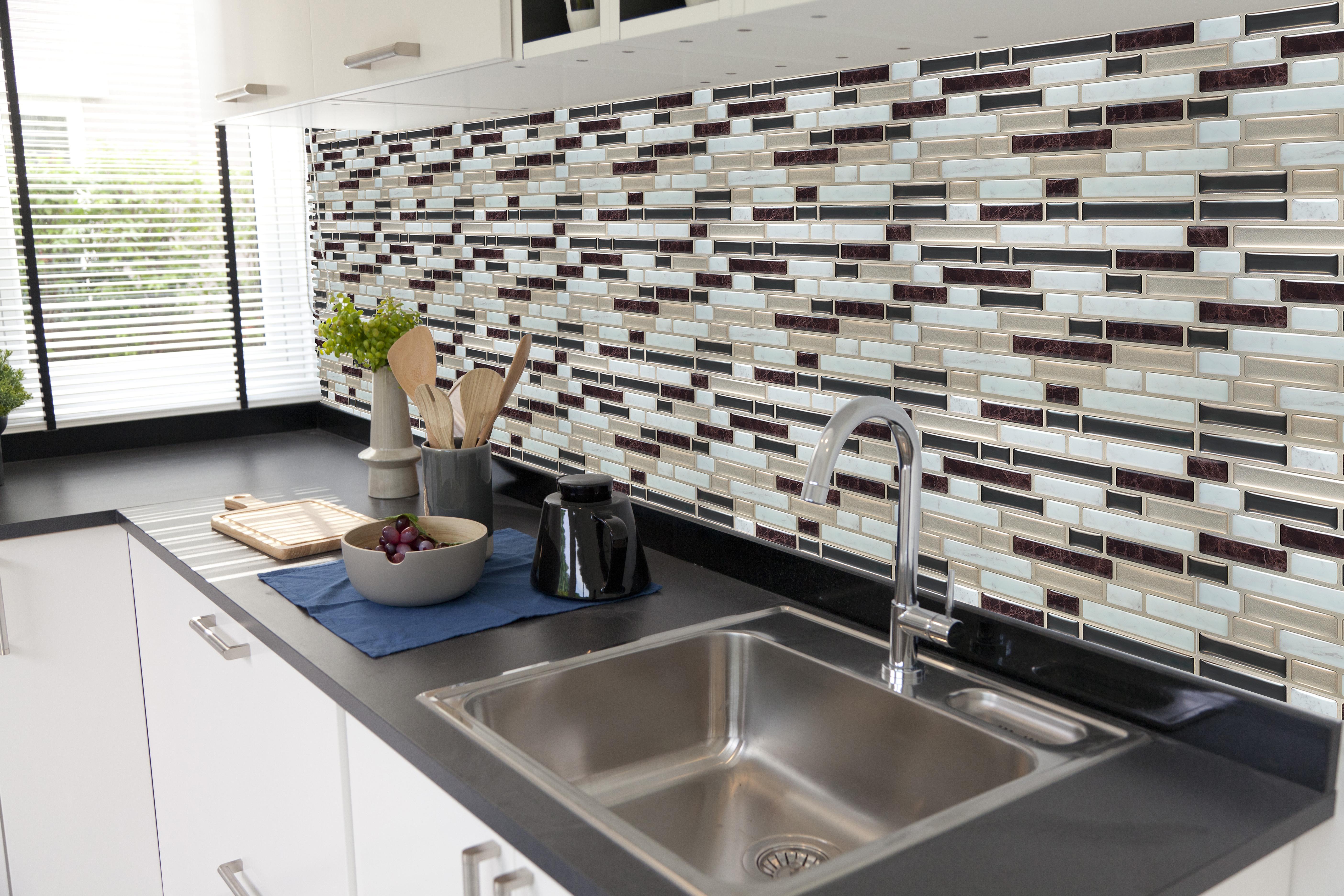 selbstklebende vinyl mosaik 3d fliesen wandgestaltung fliesen aufkleber klebe ebay. Black Bedroom Furniture Sets. Home Design Ideas